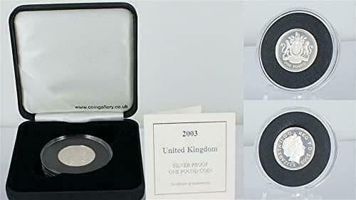 UK 2003 Silver Proof One Pound Coin In Plush Black Case.